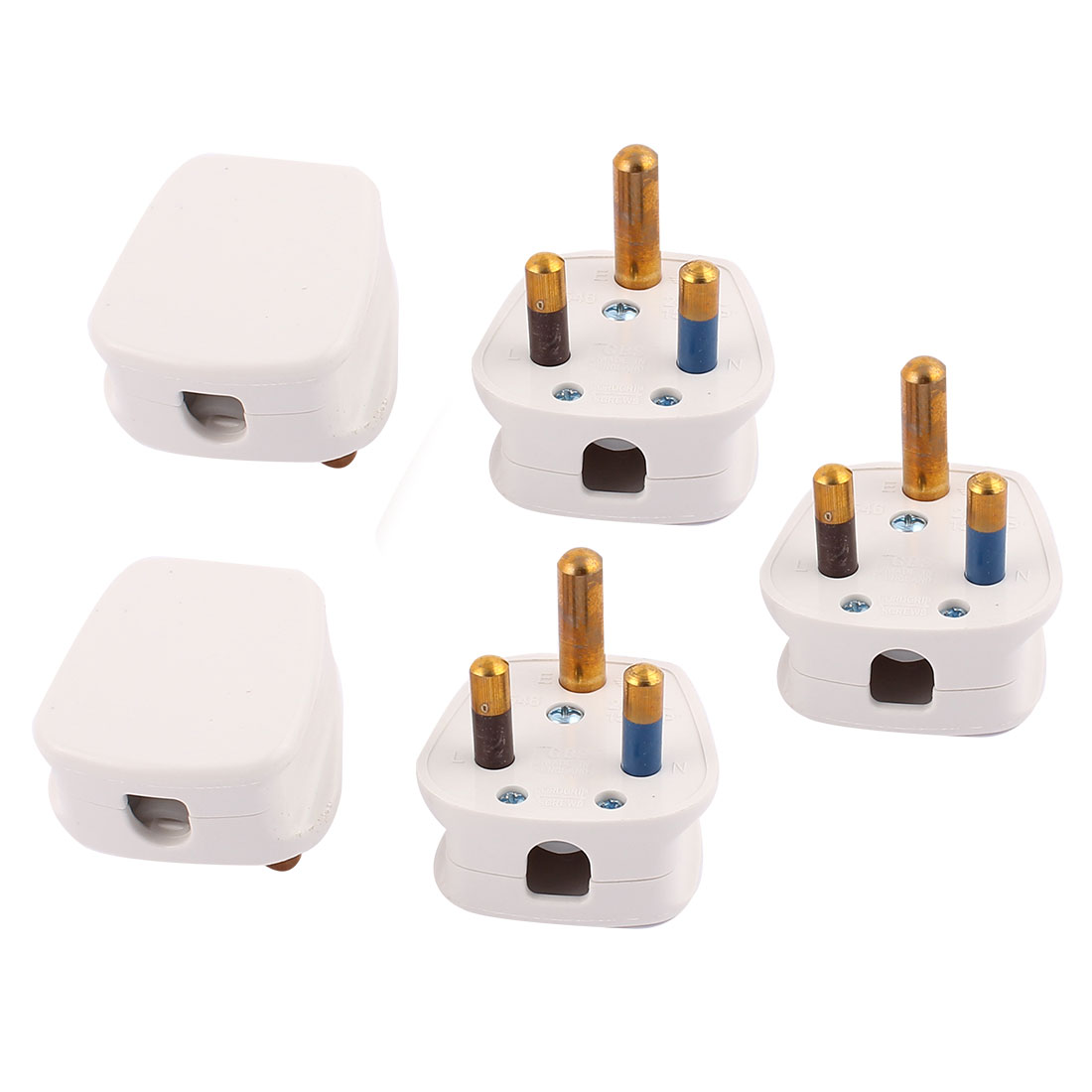 5Pcs White AC 250V 15A South Africa Plug Adapter Connector for Air conditioning