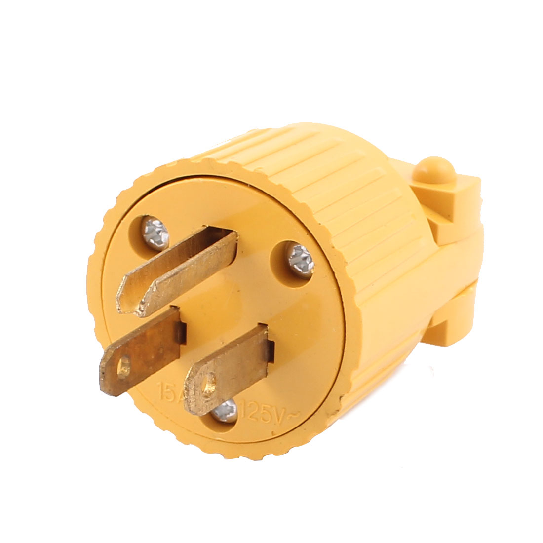 Yellow Plastic Housing AC 125V 15A 3 Pins US Plug Rewiring Power Socket Adaptor