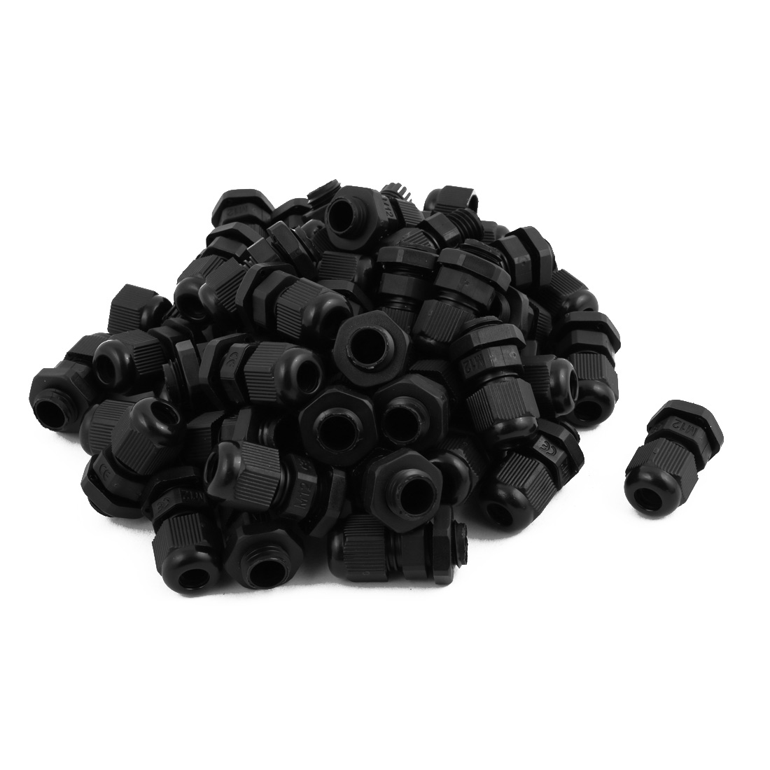 M12 Plastic Waterproof Connectors Cable Glands Connector 49 Pcs Black