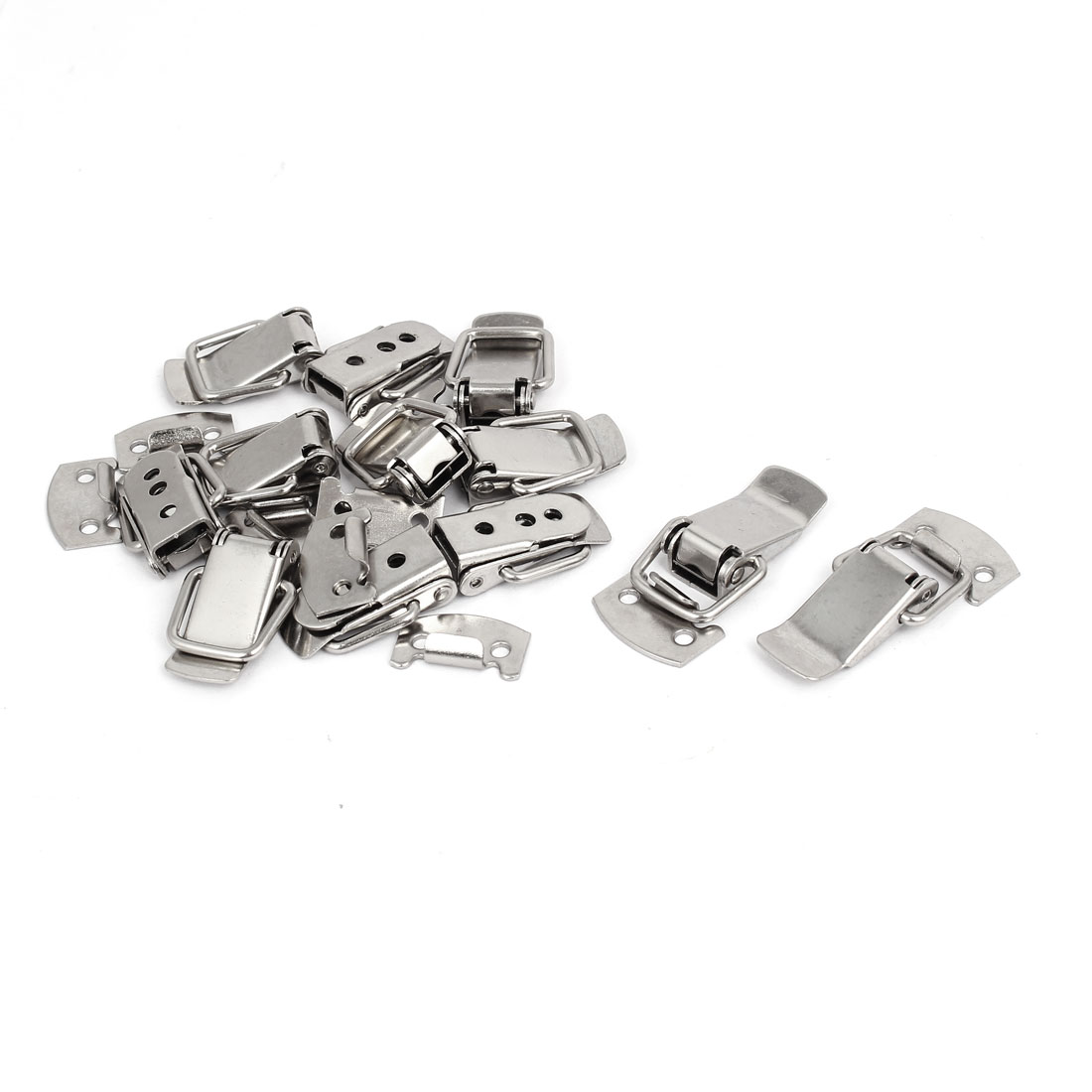 Case Box Metal Spring Loaded Toggle Latch Catch Silver Tone 12pcs