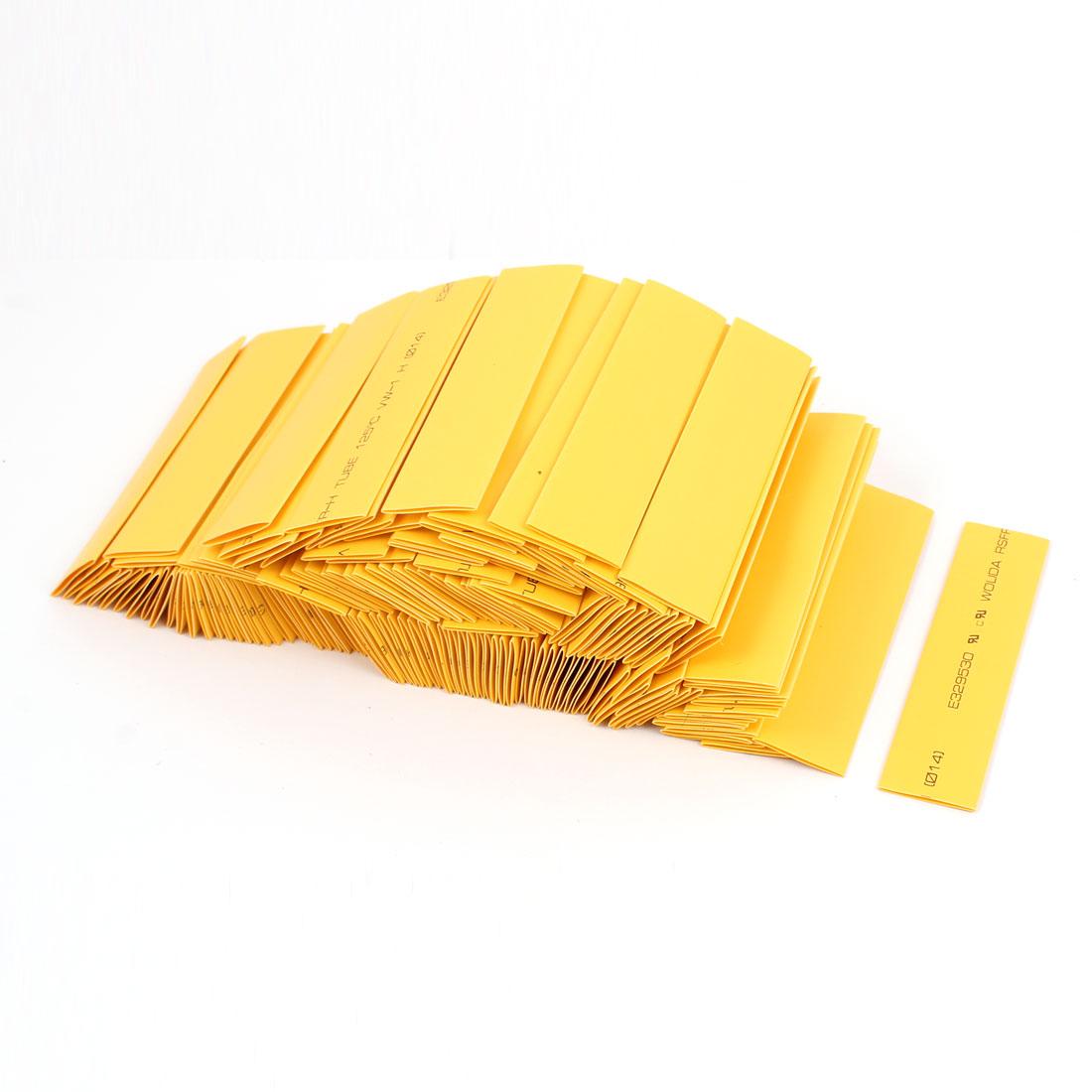14mm Dia Polyolefin 2:1 Heat Shrink Tubing Shrinkable Tube Yellow 10cm Long 150pcs