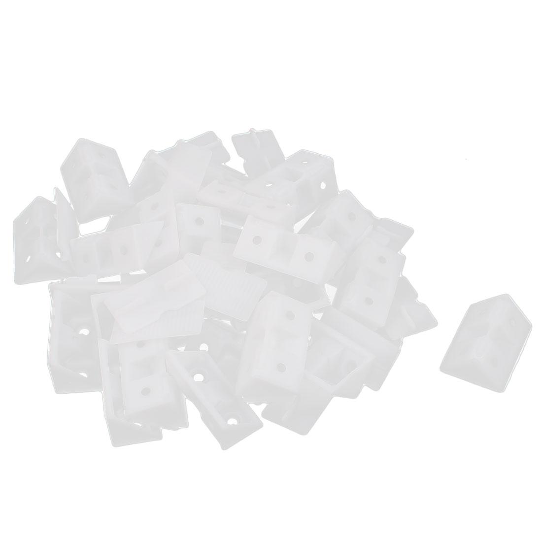 25pcs White Plastic Closet Cabinet 4 Holes Shelf Corner Brace Brackets Support