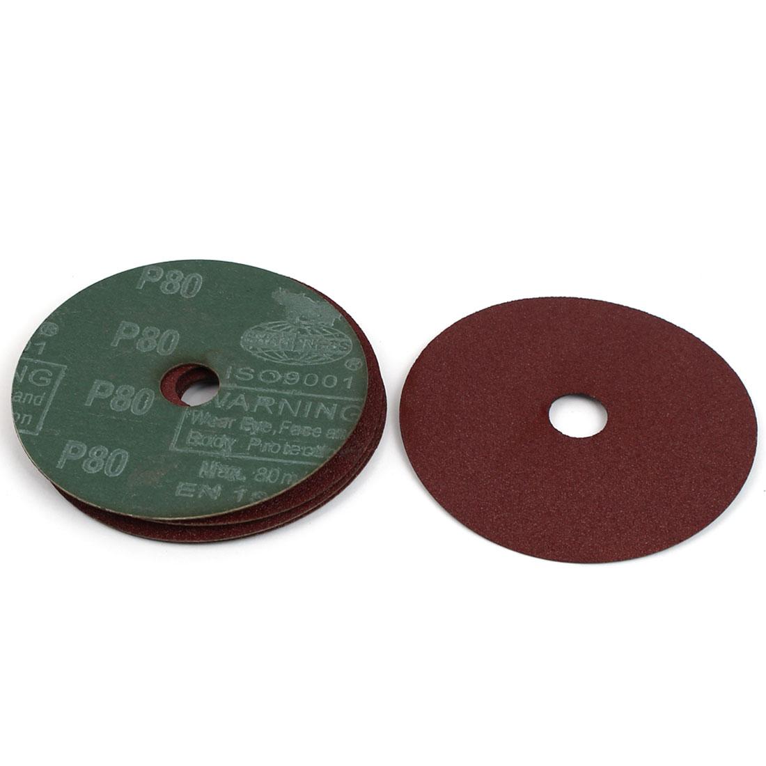 "Grinding Polishing Tool Sanding Disc Sandpaper 80 Grit 4"" Dia 5pcs"