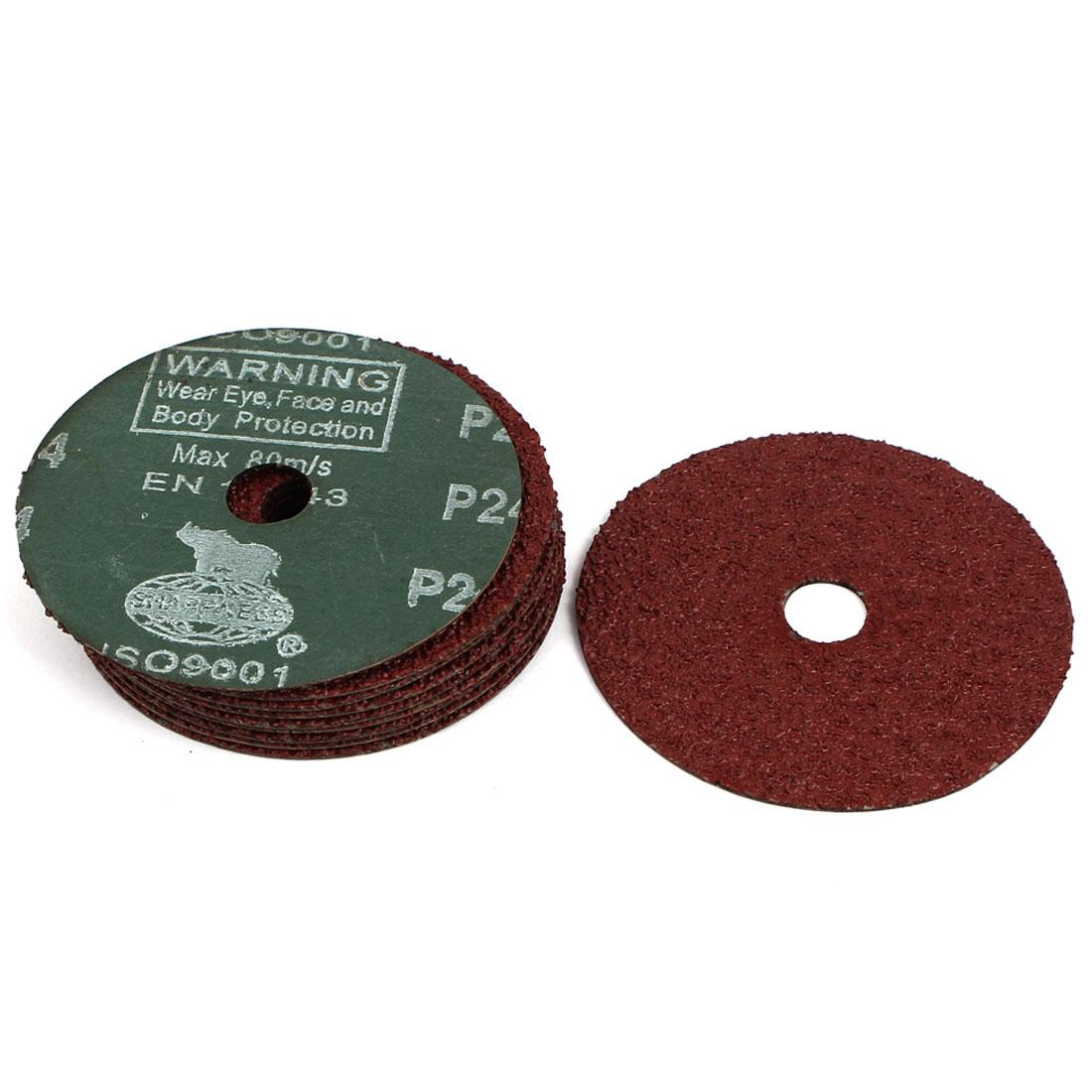 "4"" Dia 24 Grit Abrasive Sand Paper Disc 10pcs for Polishing Machine"