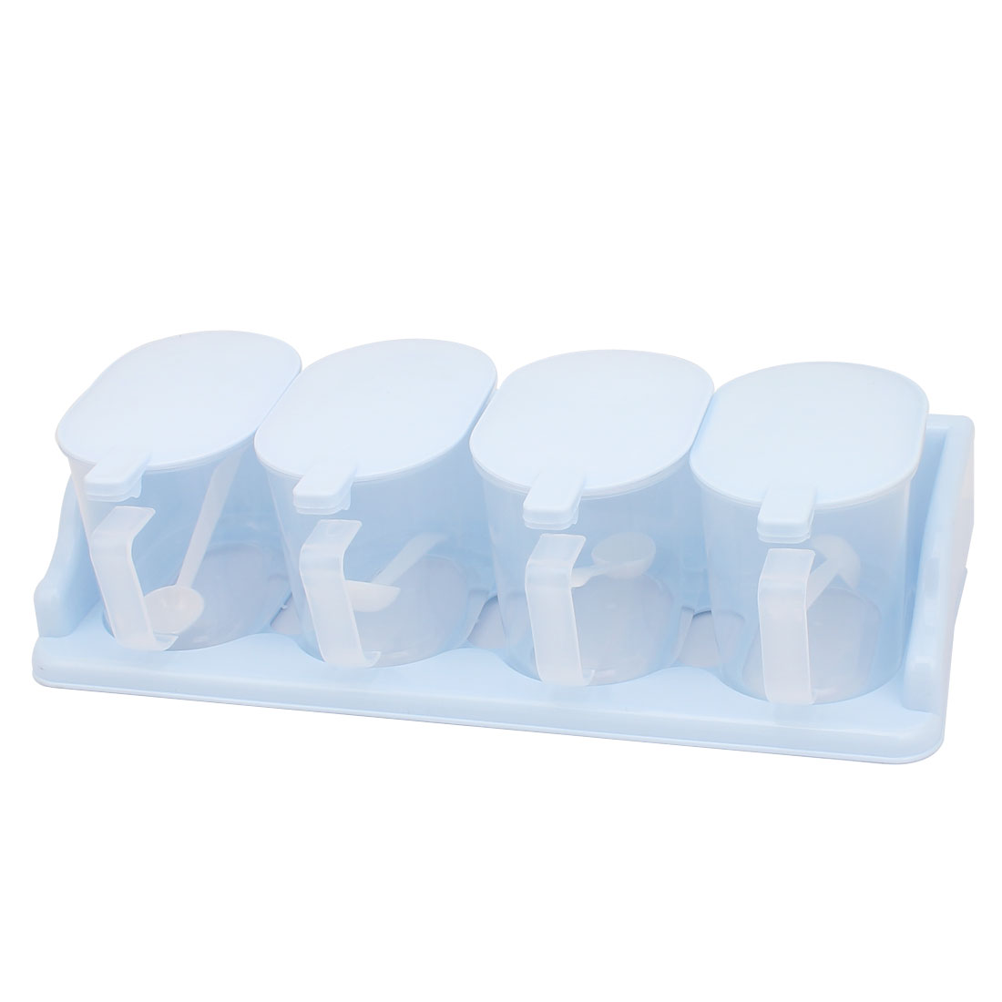 Kitchen Plastic Lid Clear Spices Seasoning Condiment Container Blue 4pcs