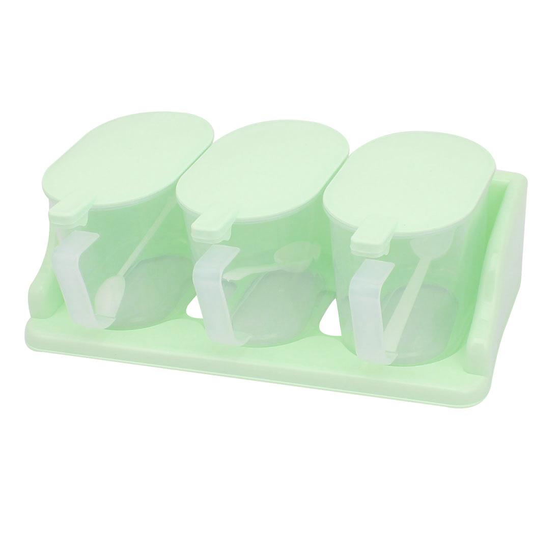 Kitchen Plastic 3 Sections Spices Salt Condiment Container Dispenser Case Green