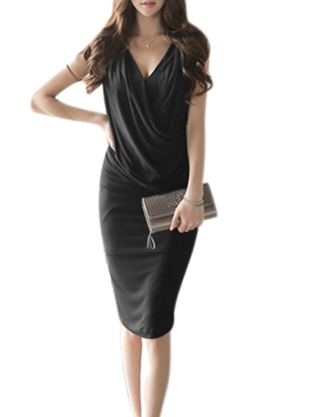 Women V Neck Wrap Design Front Shirred Sheath Dress Black S