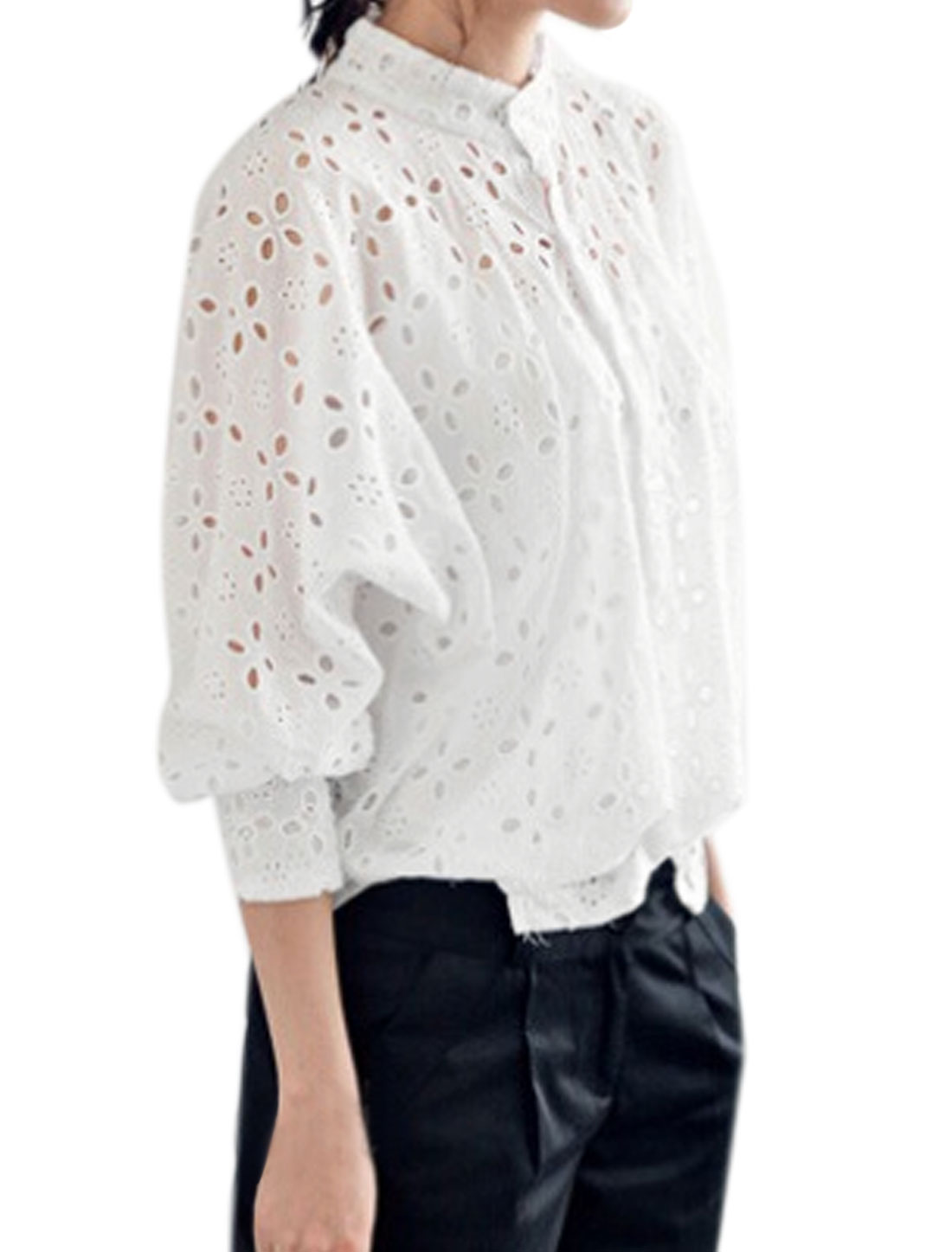 Women Stand Collar High Low Hem Hollow Out Batwing Top White XS