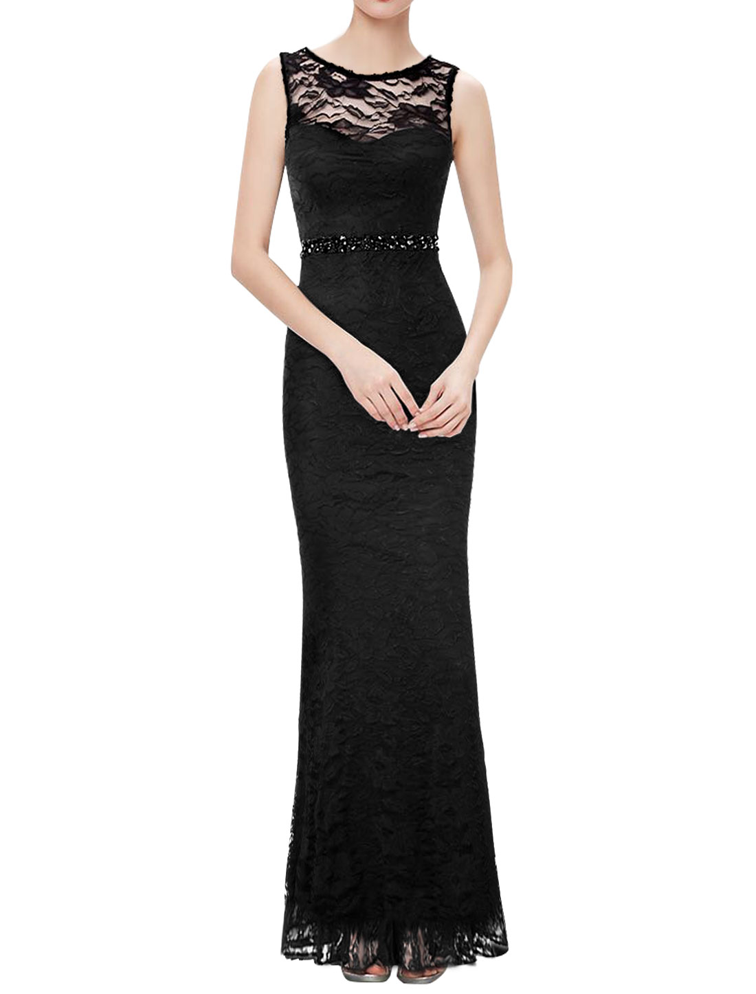Women Sleeveless Rhinestones Semi Sheer Lace Maxi Dress Black XS