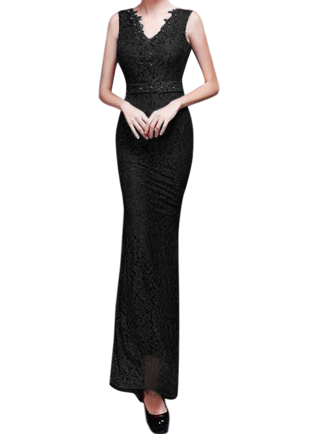 Women V Neck Rhinestone Decor Floral Lace Maxi Dress Black S