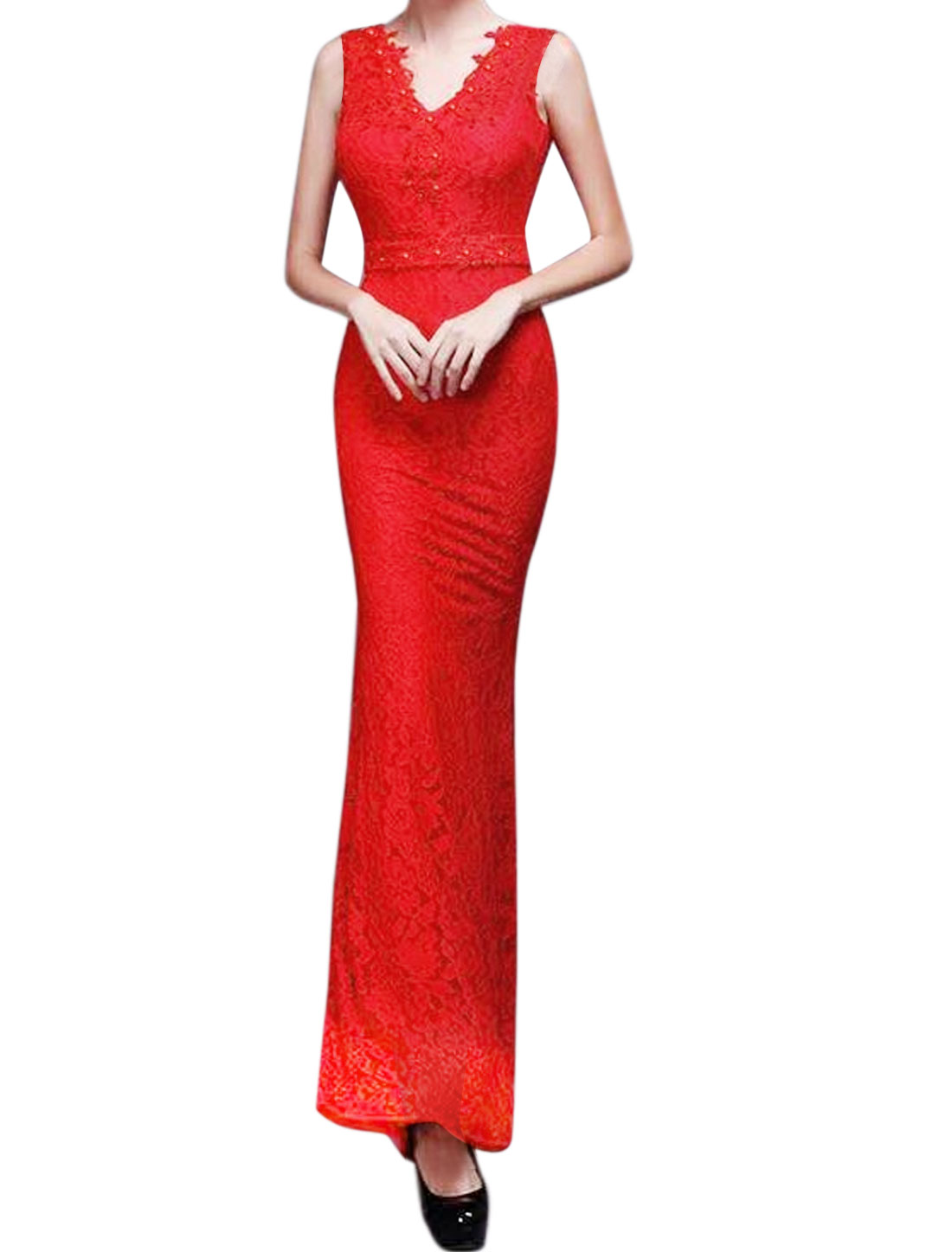 Women V Neck Rhinestone Decor Floral Lace Maxi Dress Red S
