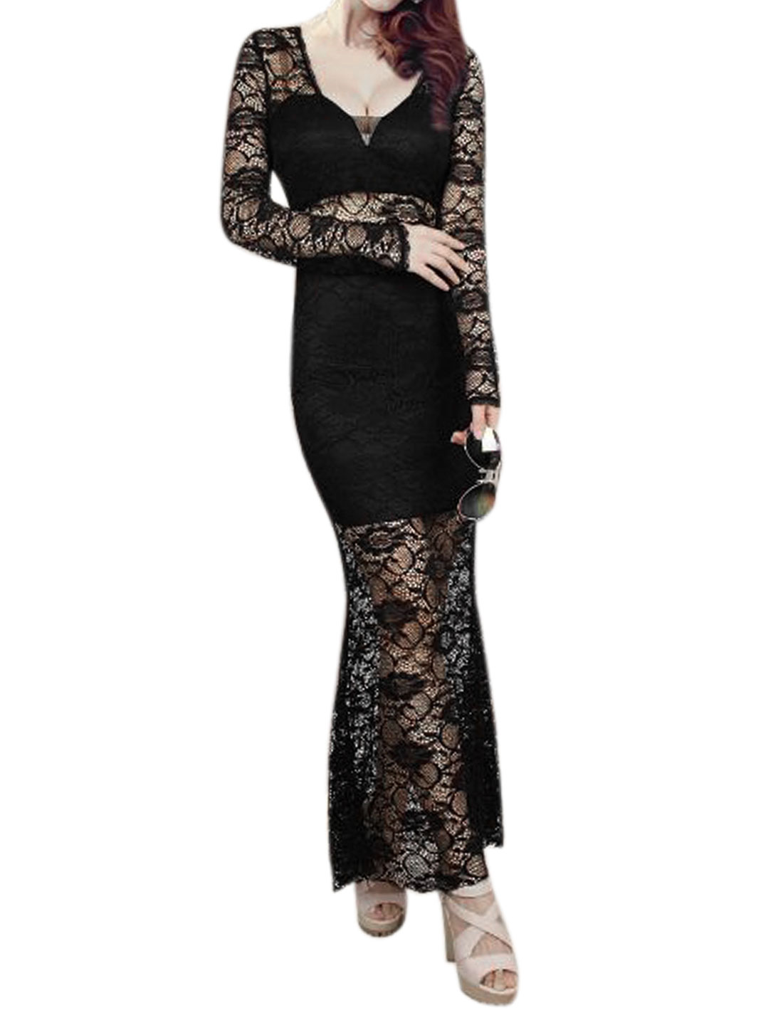 Women Semi Sheer Flouncing Hem Floral Lace Maxi Dress Black XS