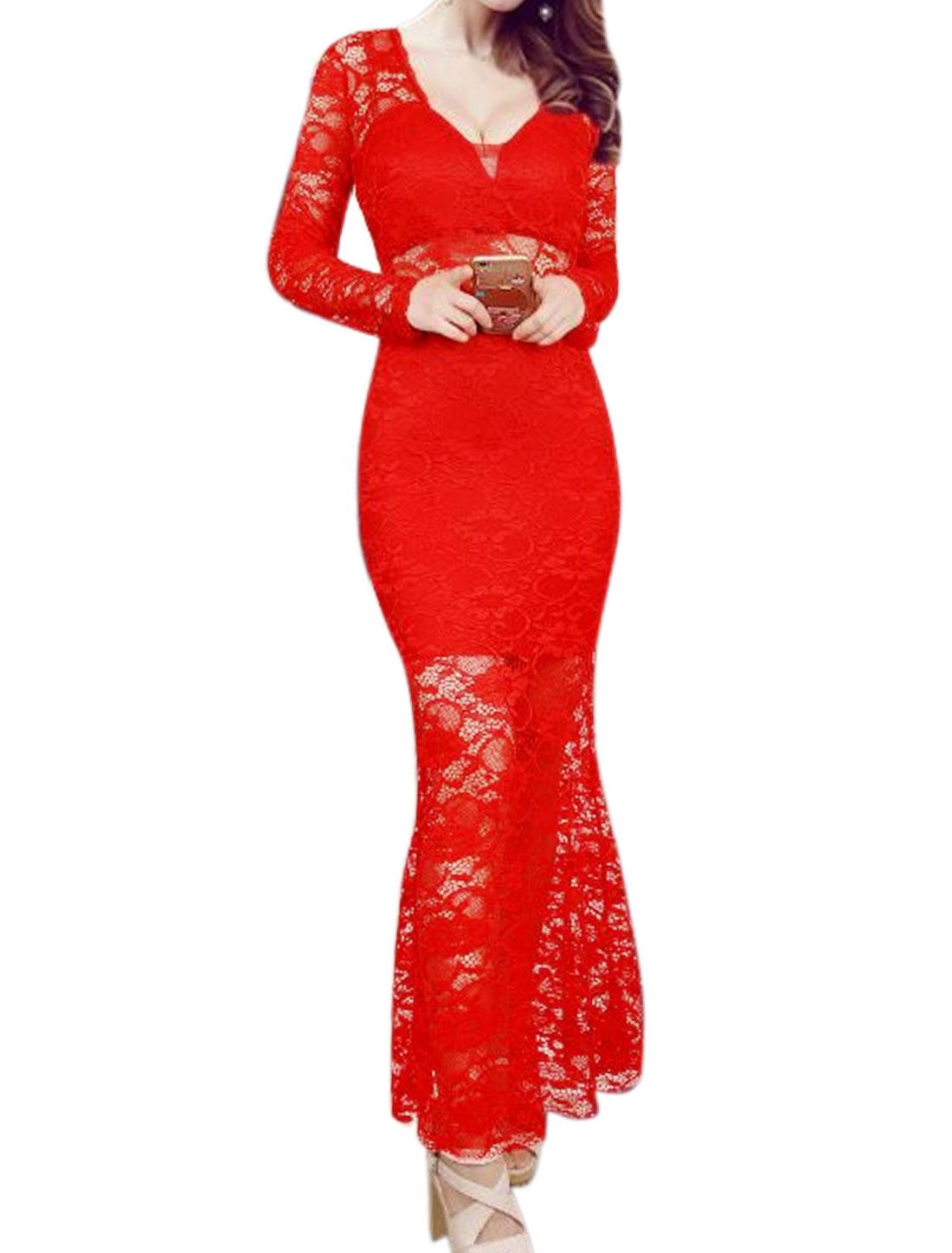 Women Semi Sheer Flouncing Hem Floral Lace Maxi Dress Red XS