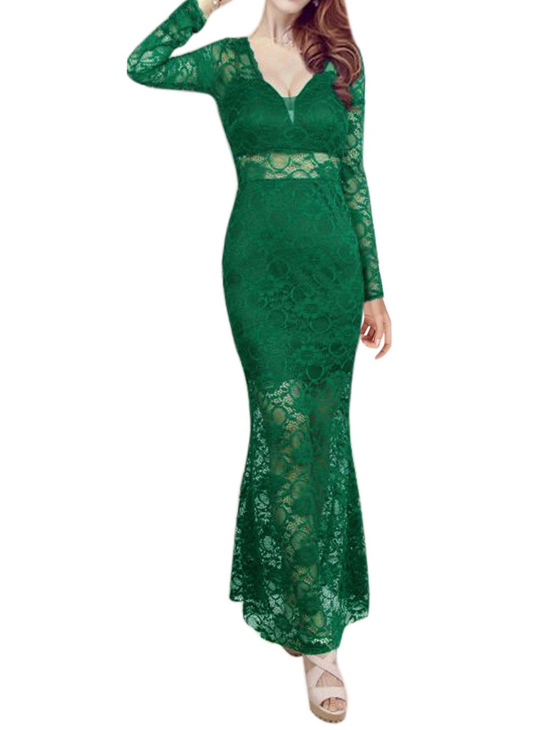Women Semi Sheer Flouncing Hem Floral Lace Maxi Dress Green XS