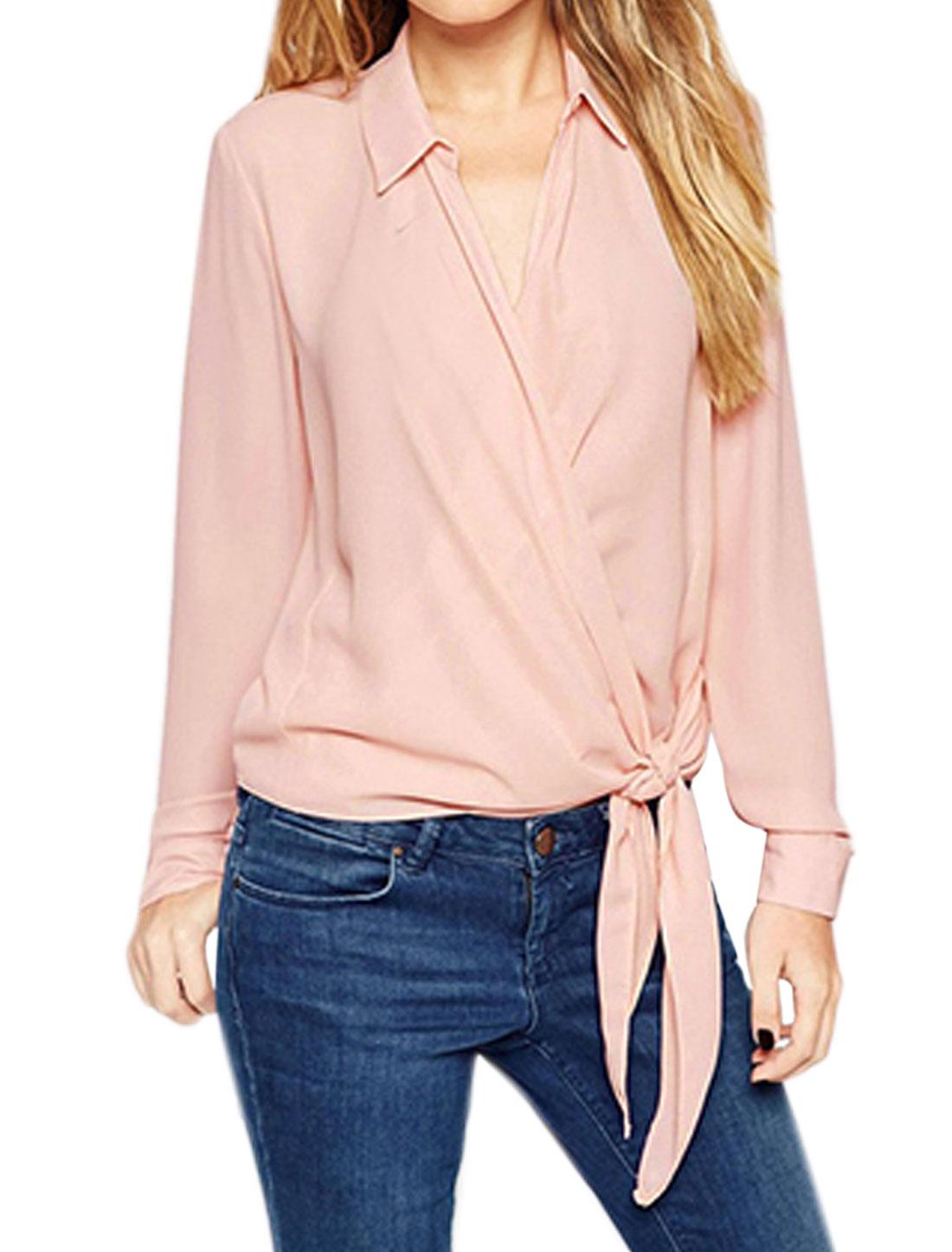Women Point Collar Wrap Design Self Tie Hem Blouse Pink M