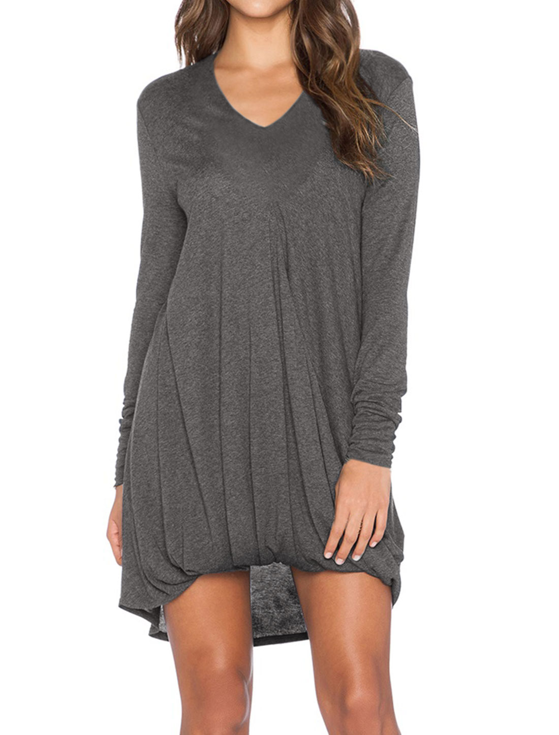 Women Long Sleeves V Neck Ruched Front Tunic Dress Gray S
