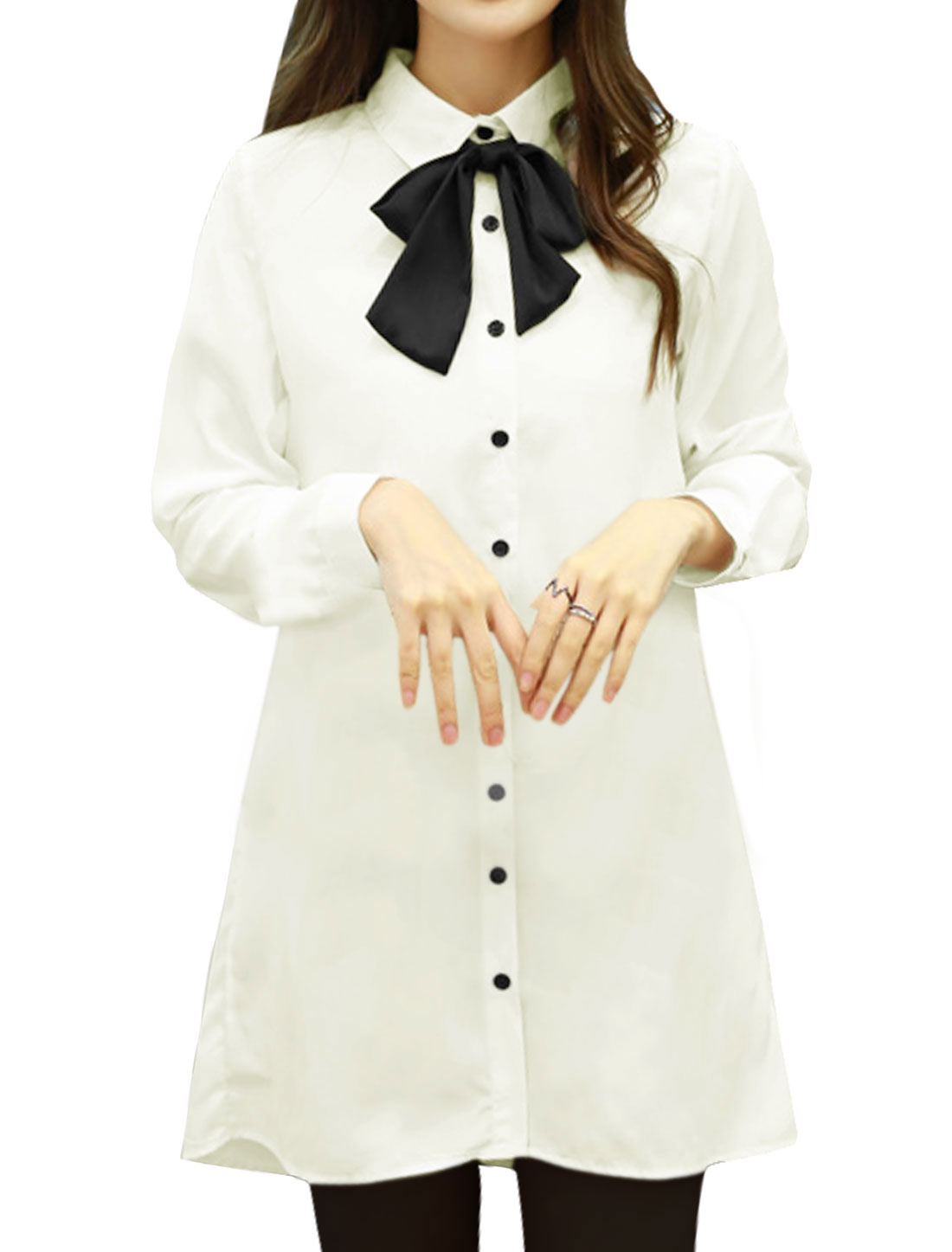 Women Point Collar Semi Sheer High Low Tunic Shirt w Bow Tie White M