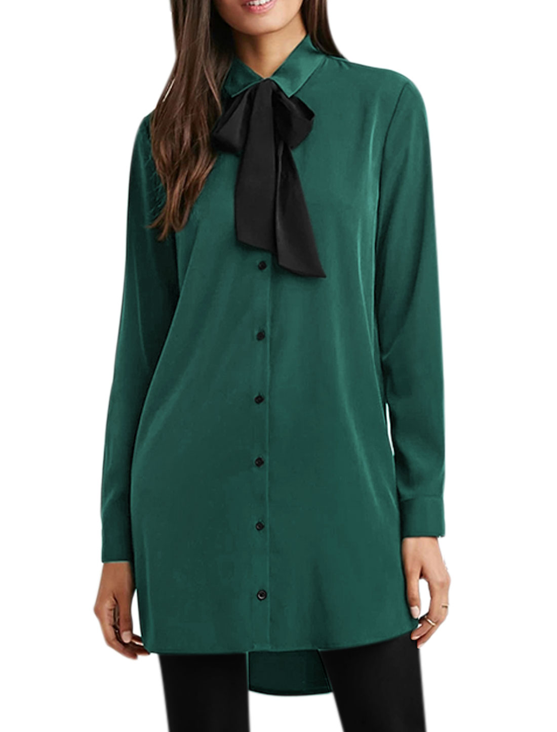 Women Point Collar Semi Sheer High Low Tunic Shirt w Bow Tie Green M