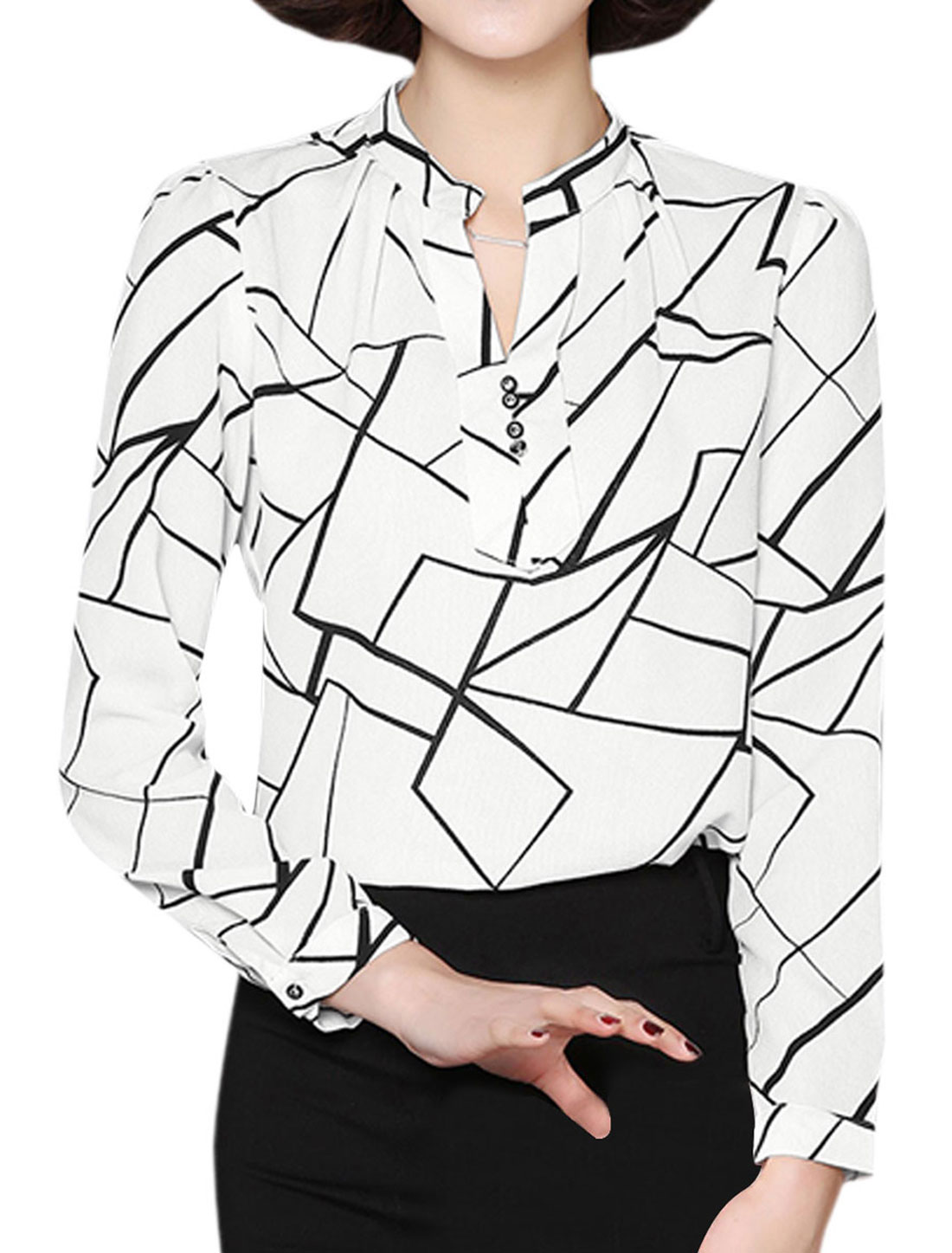 Women Stand Collar Buttons Decor Geometric Blouse White M