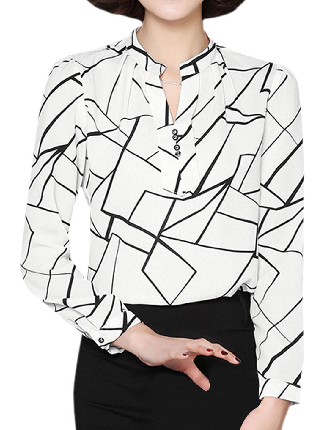 Women Stand Collar Buttons Decor Geometric Blouse White M