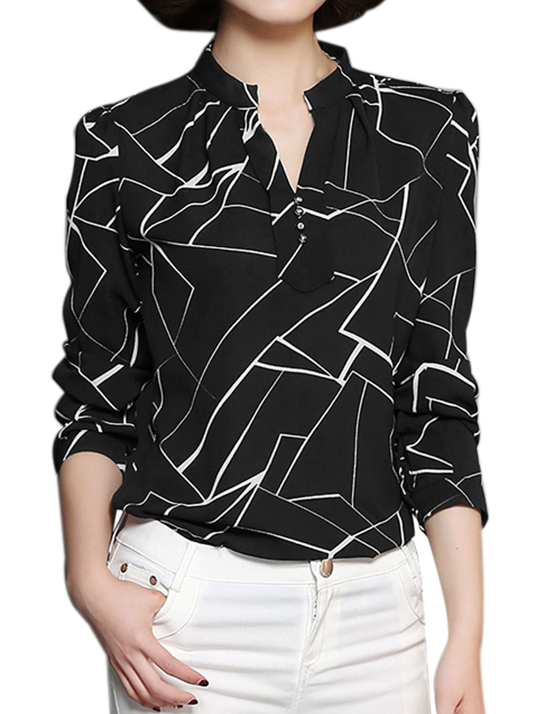 Women Stand Collar Buttons Decor Geometric Blouse Black M