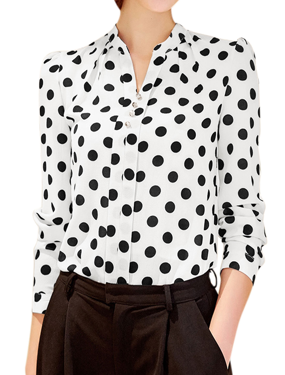 Women Stand Collar Button Decor Polka Dots Print Blouse White M