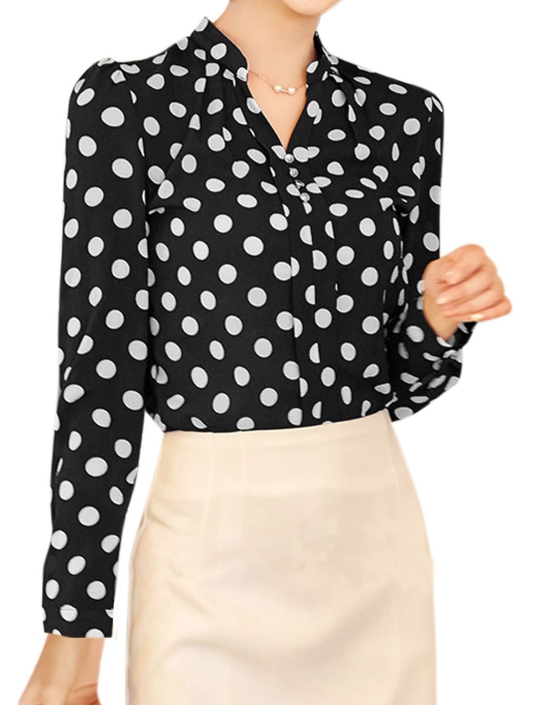 Women Stand Collar Button Decor Polka Dots Print Blouse Black M