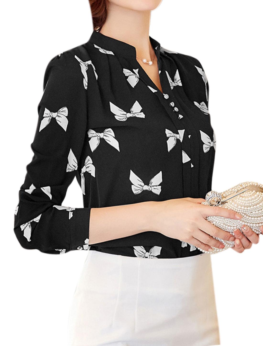 Women Stand Collar Button Decor Bow Tie Print Blouse Black M
