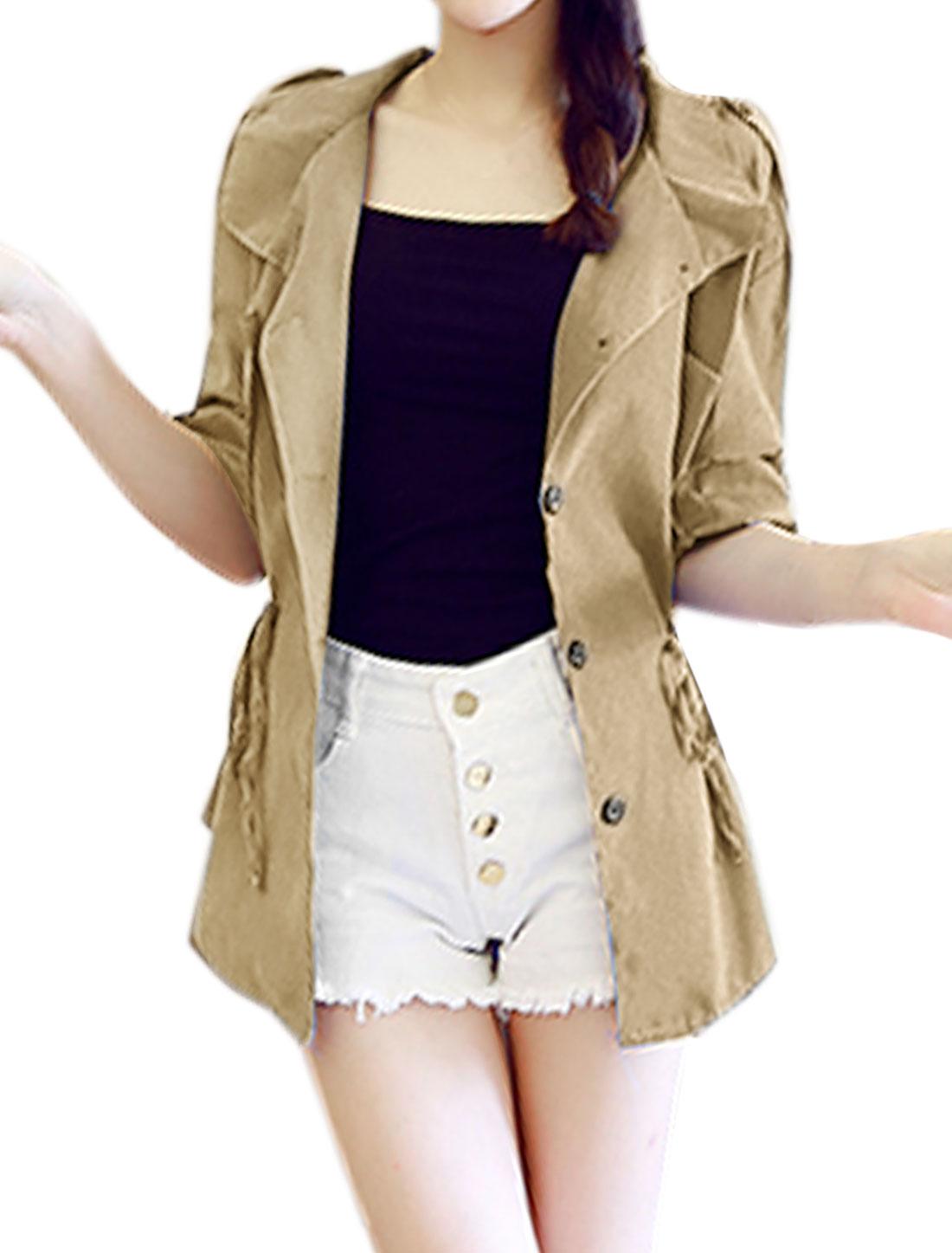 Women Button-Tab Epaulets Roll Up Sleeves Drawstring Waist Jacket Beige XS