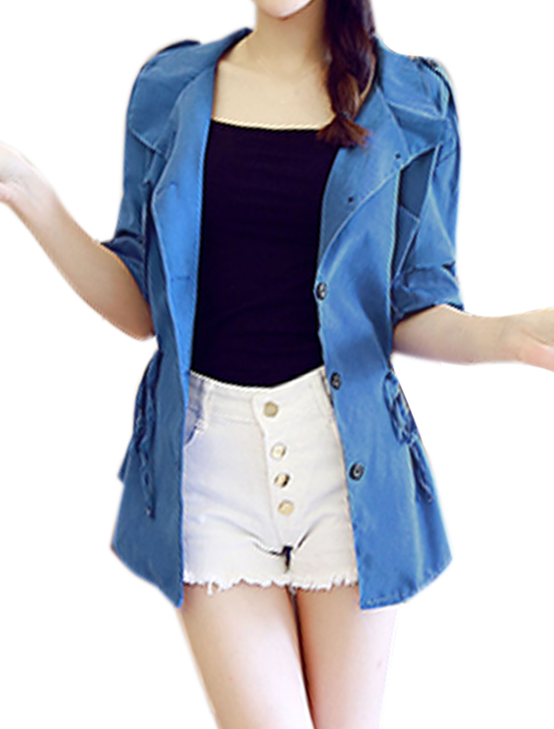 Women Button-Tab Epaulets Roll Up Sleeves Drawstring Waist Jacket Blue XS