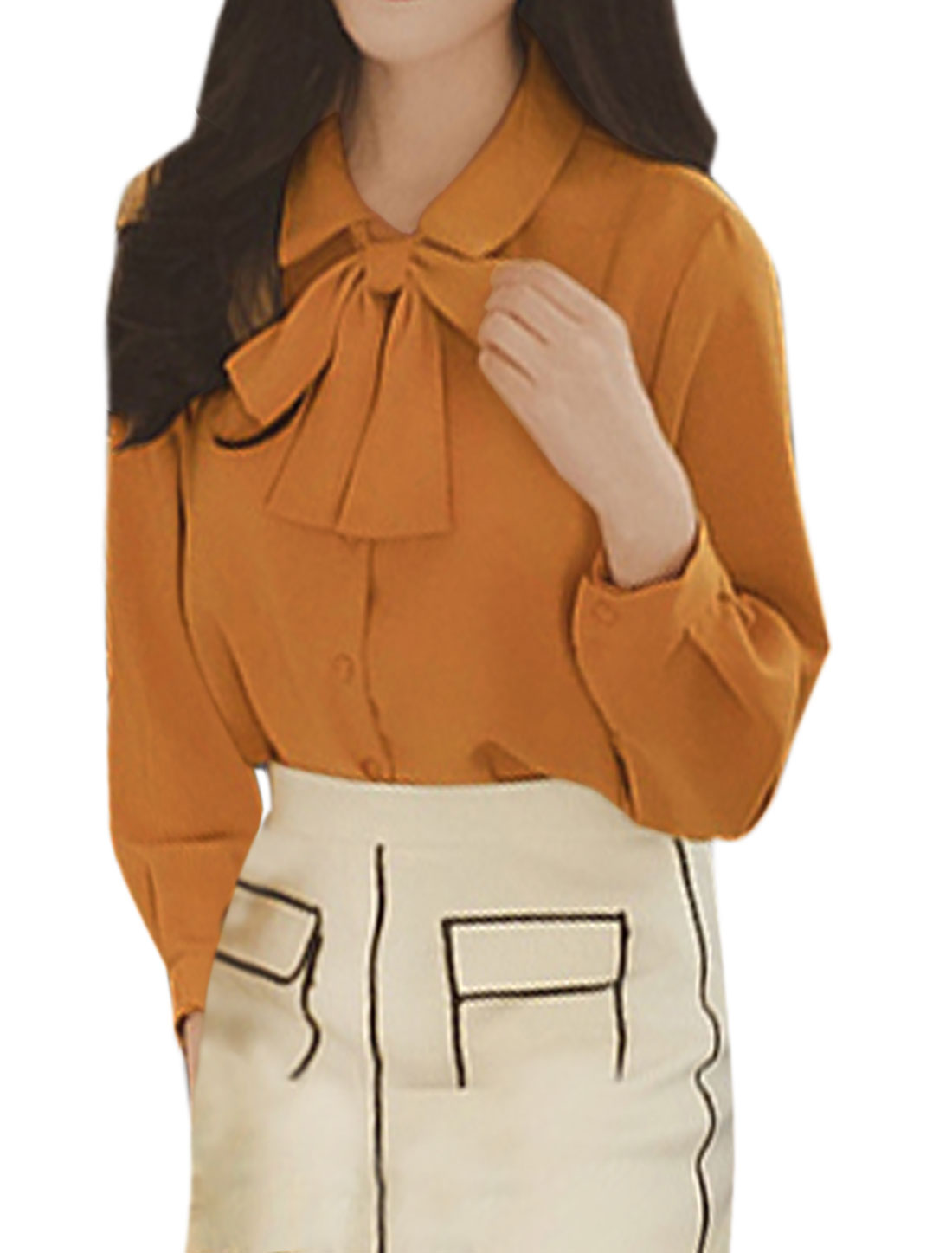 Women Point Collar Single Breasted Casual Shirt w Self Tie String Brown XS