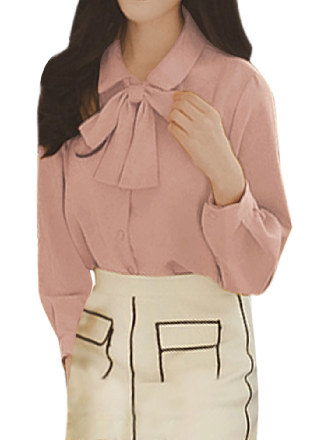 Women Point Collar Single Breasted Casual Shirt w Self Tie String Pink XS