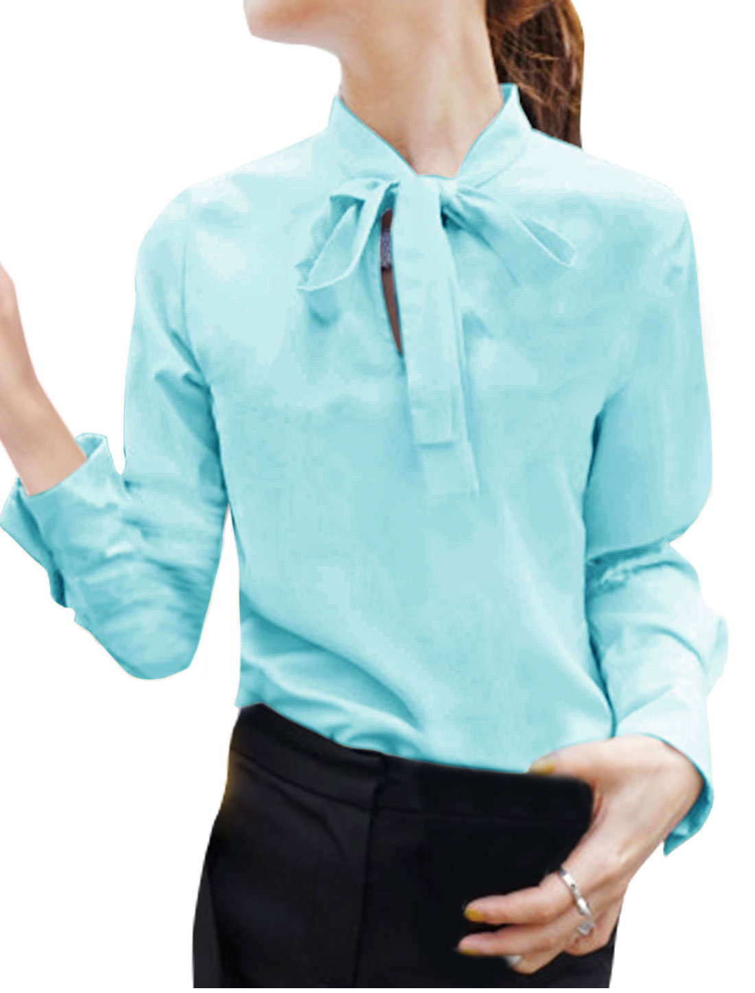 Women Tie Bow Neck Long Sleeves Casual Blouse Blue S