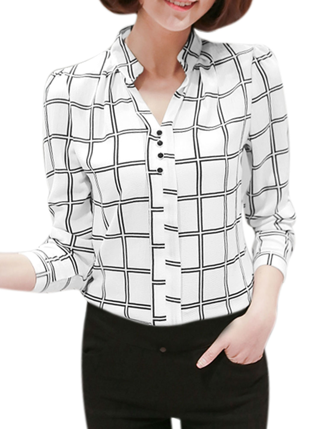 Women Long Sleeves Stand Collar Buttons Decor Plaids Blouse White M