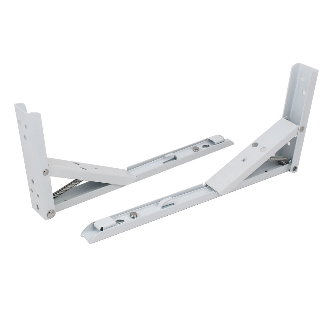 12-inch Long Metal Spring Loaded Folding Shelf Bracket Support White 2pcs