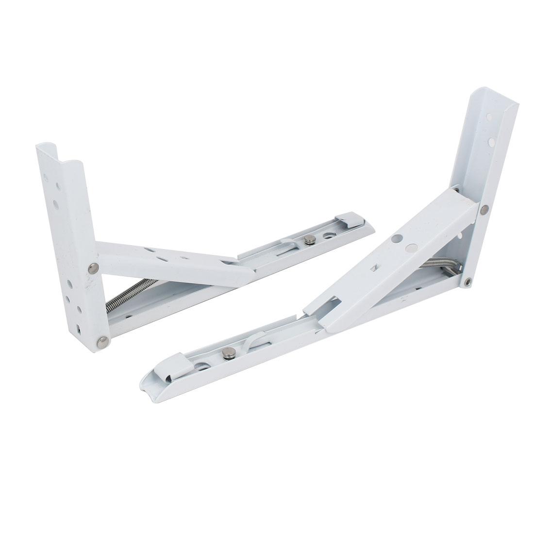 10-inch Long Metal Spring Loaded Folding Shelf Bracket Support White 2pcs
