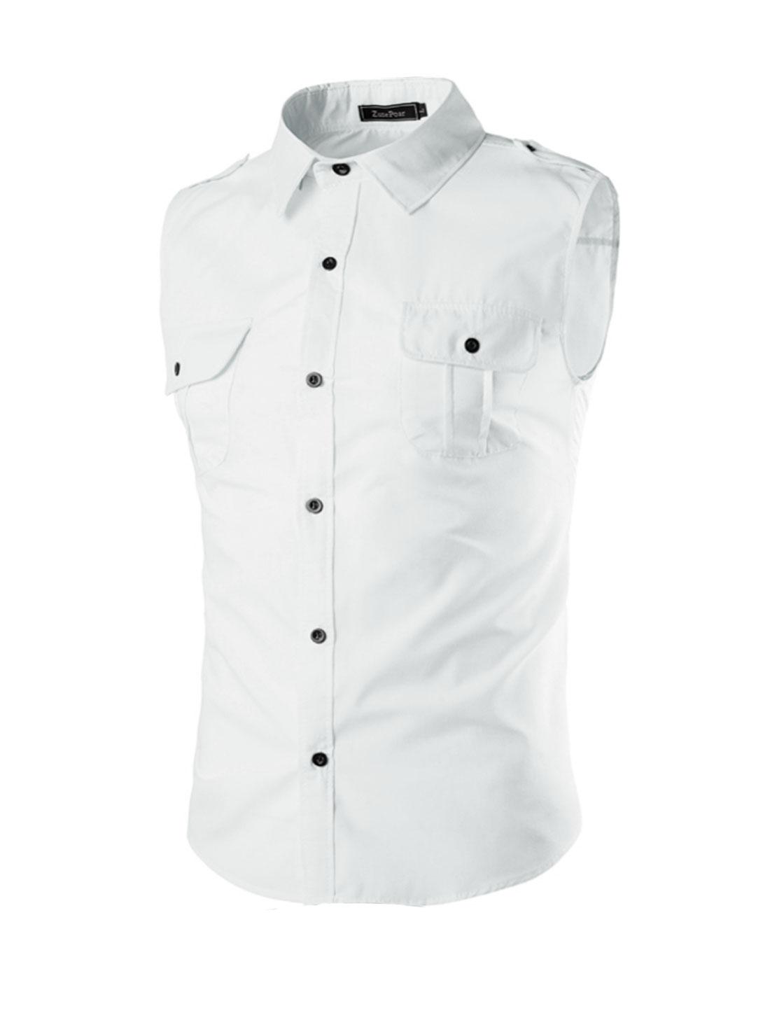 Men Flap Chest Pocket Button Closure Sleeveless Shirt White M