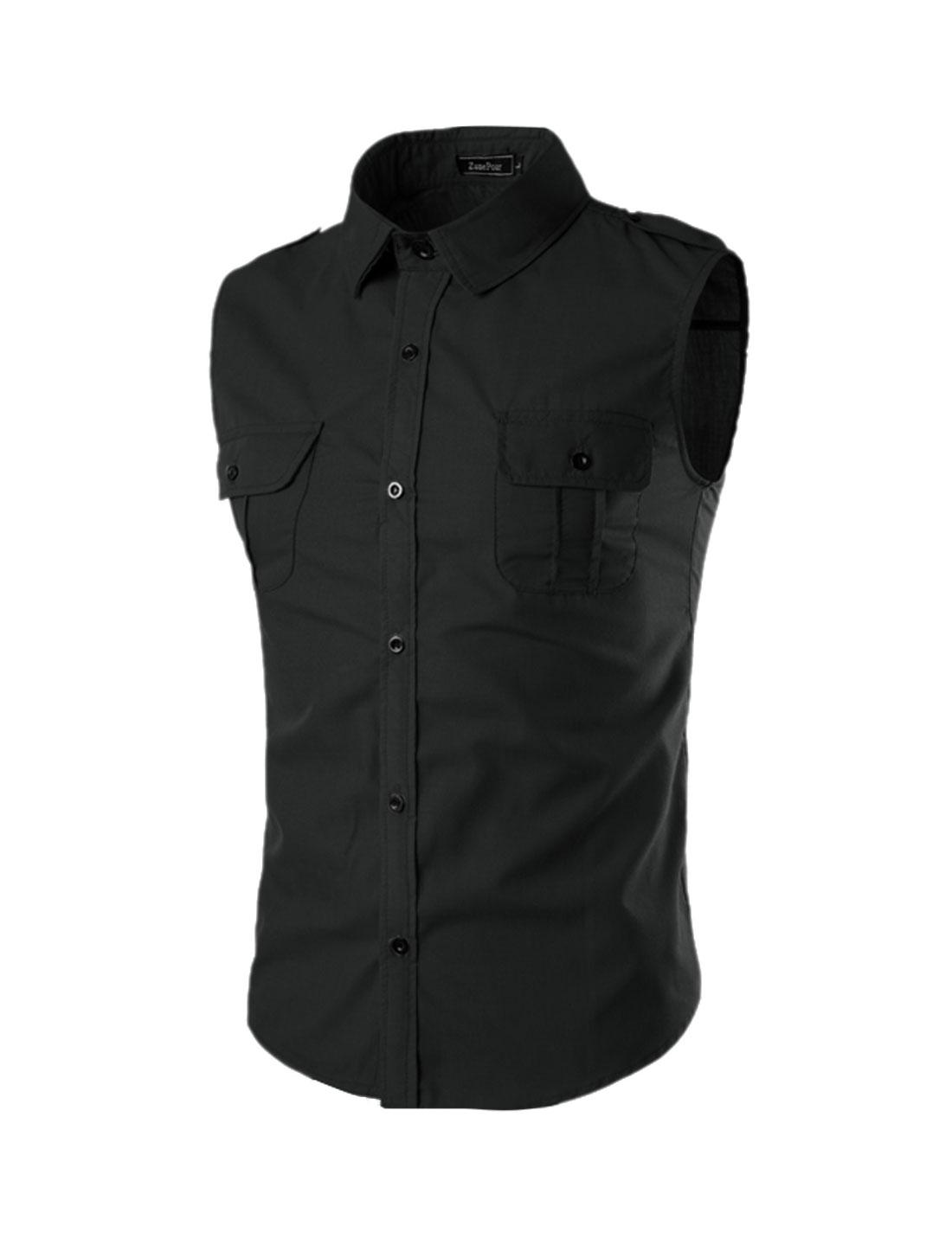 Men Flap Chest Pocket Button Closure Sleeveless Shirt Black M