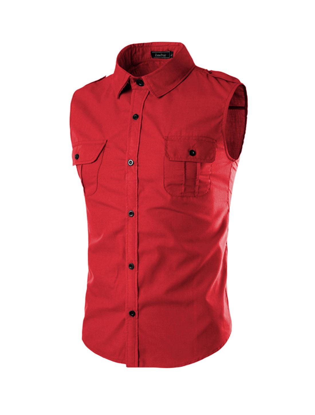 Men Flap Chest Pocket Button Closure Sleeveless Shirt Red M