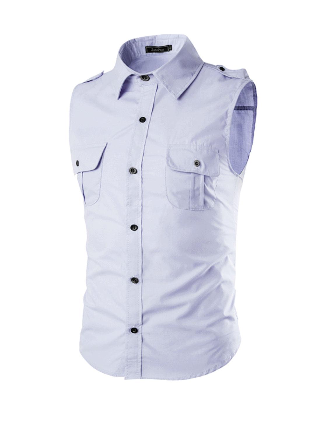 Men Flap Chest Pocket Button Closure Sleeveless Shirt Purple M