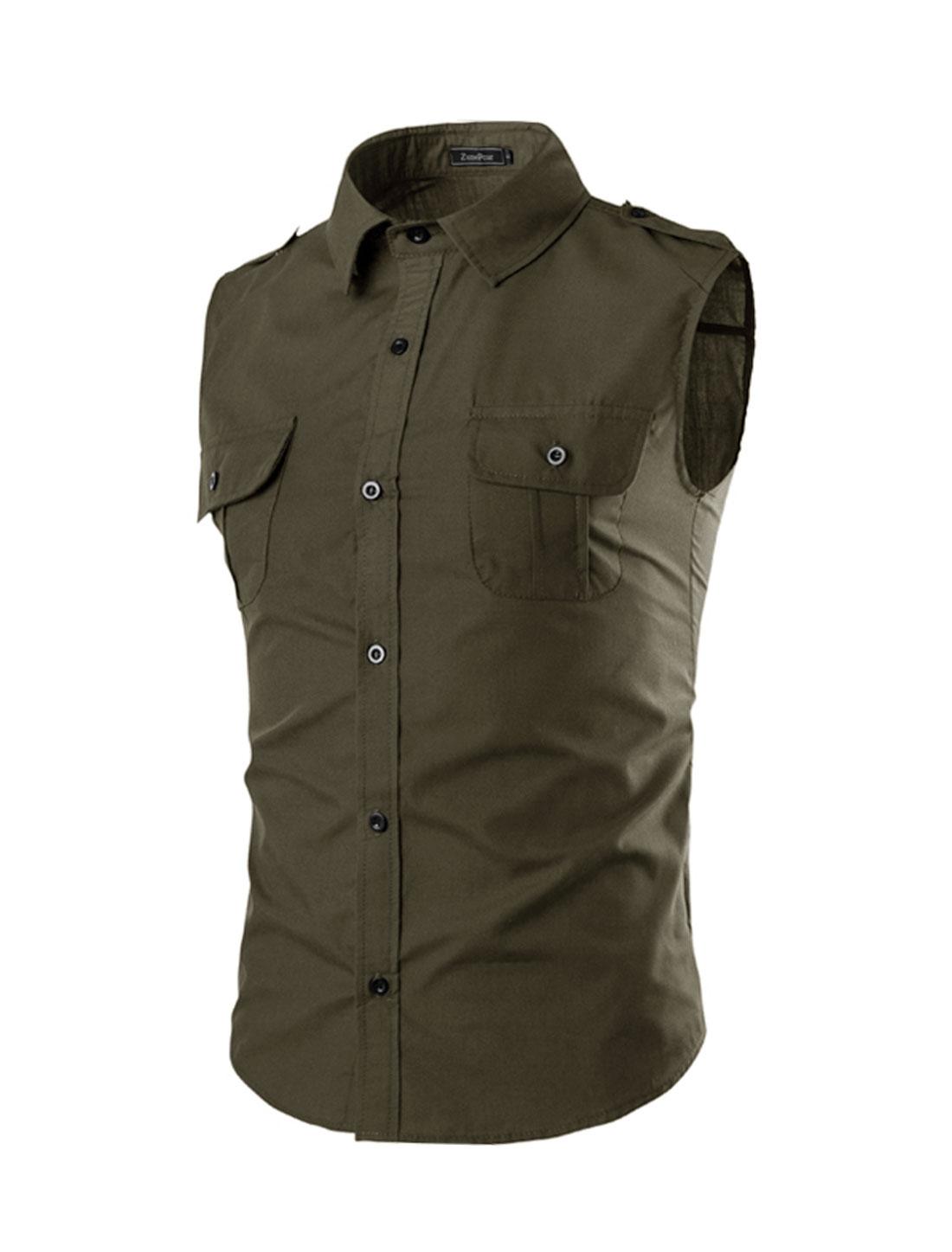 Men Flap Chest Pocket Button Closure Sleeveless Shirt Brown M