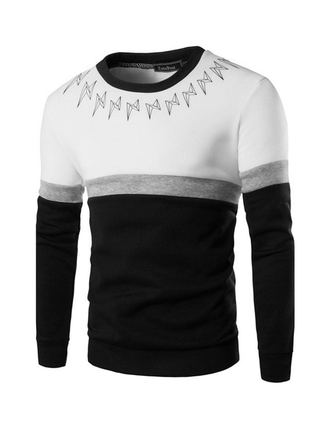 Men Color Block Lightning Prints Slim Fit Sweatshirt White M