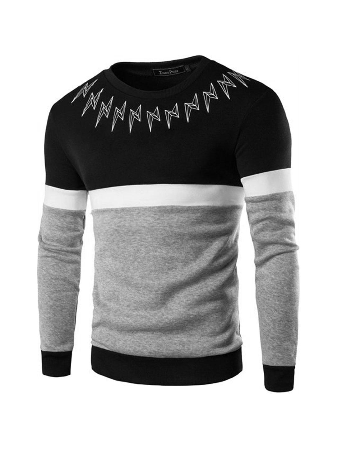 Men Color Block Lightning Prints Slim Fit Sweatshirt Black M