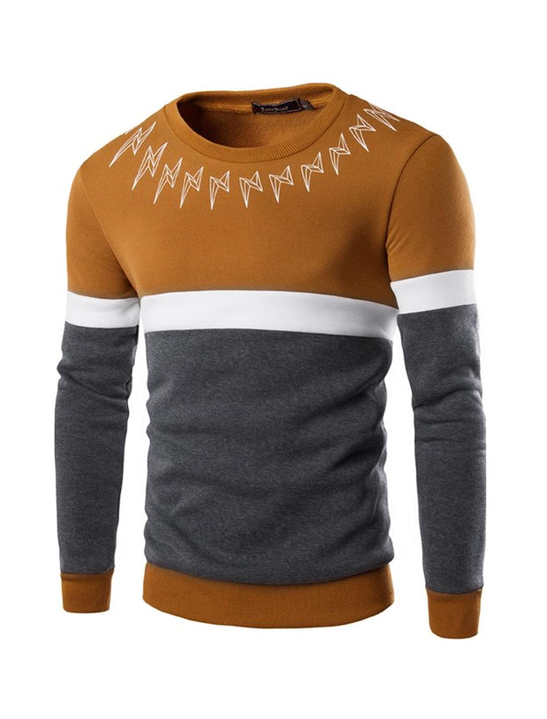 Men Color Block Lightning Prints Slim Fit Sweatshirt Brown M