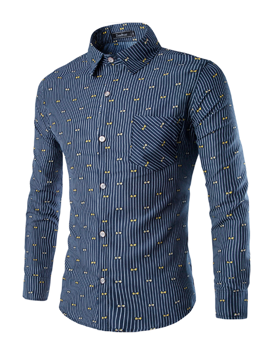 Men Single Breasted Stripes Bowknots Slim Fit Shirt Blue M