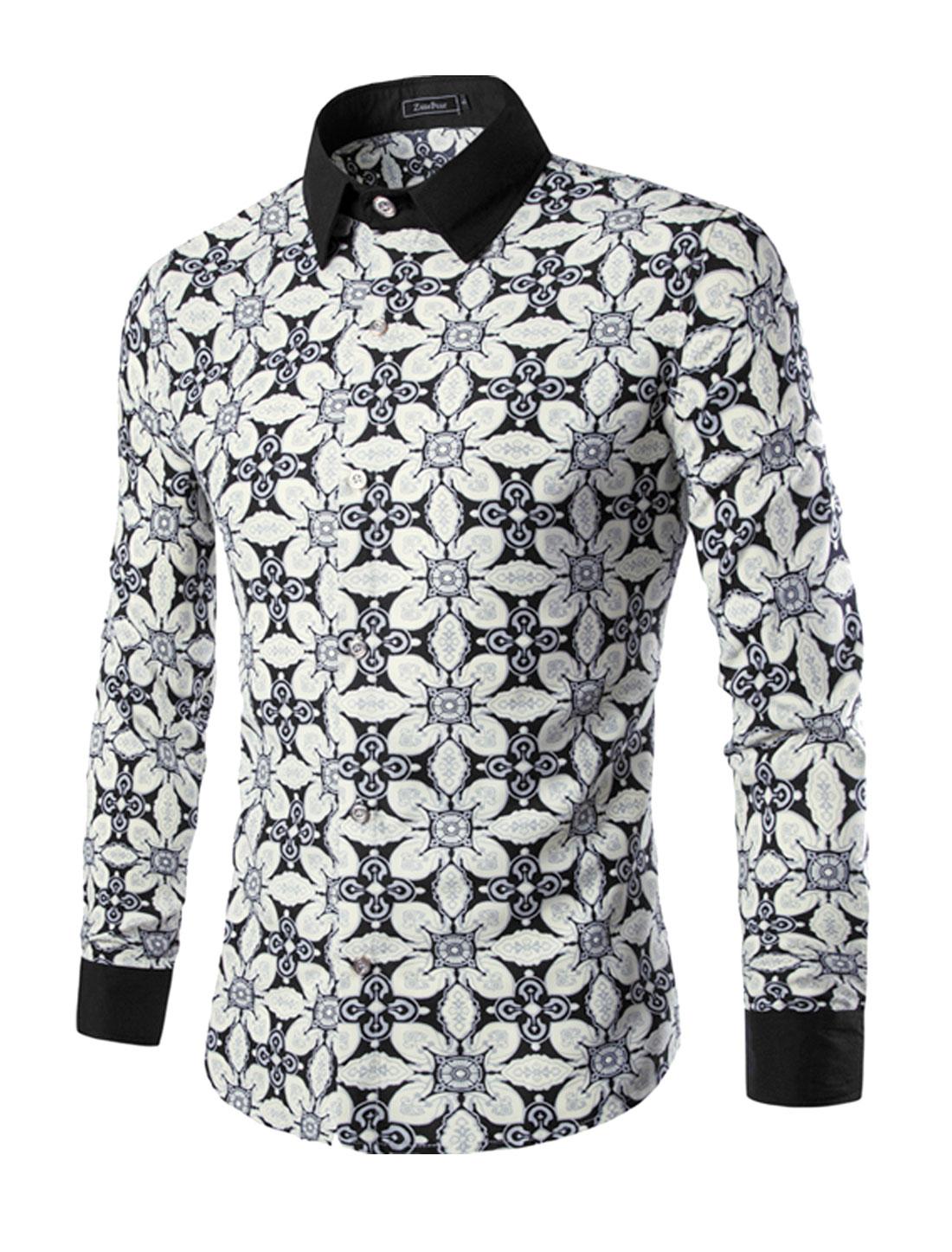 Men Single Breasted Novelty Print Slim Fit Shirt Beige M