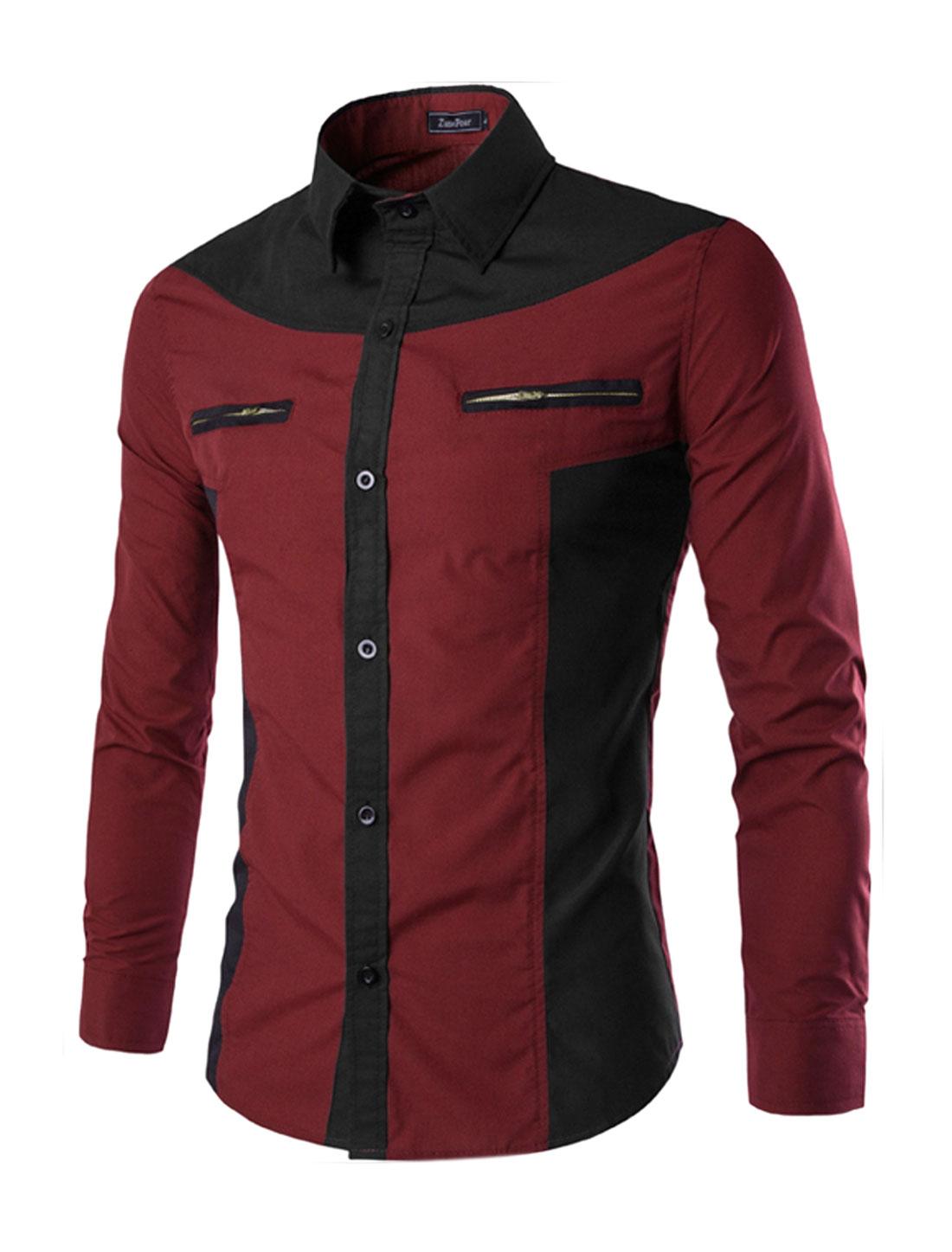 Men Collared Mock Pockets Contrast Color Slim Fit Shirt Red M