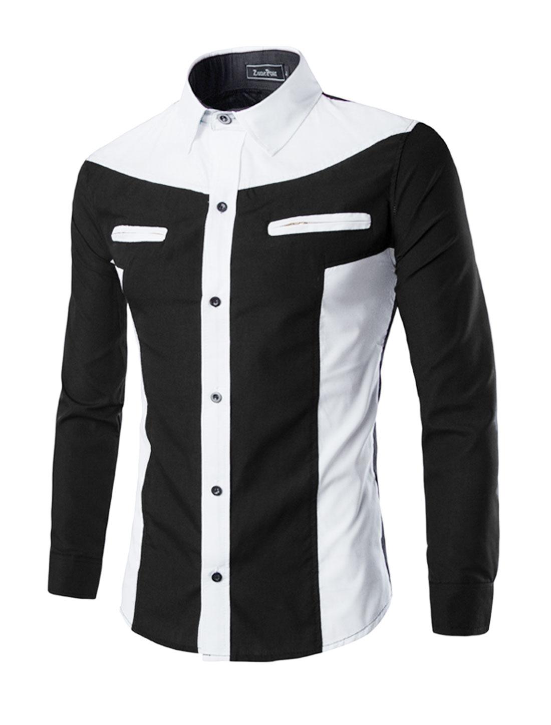 Men Collared Mock Pockets Contrast Color Slim Fit Shirt Black M