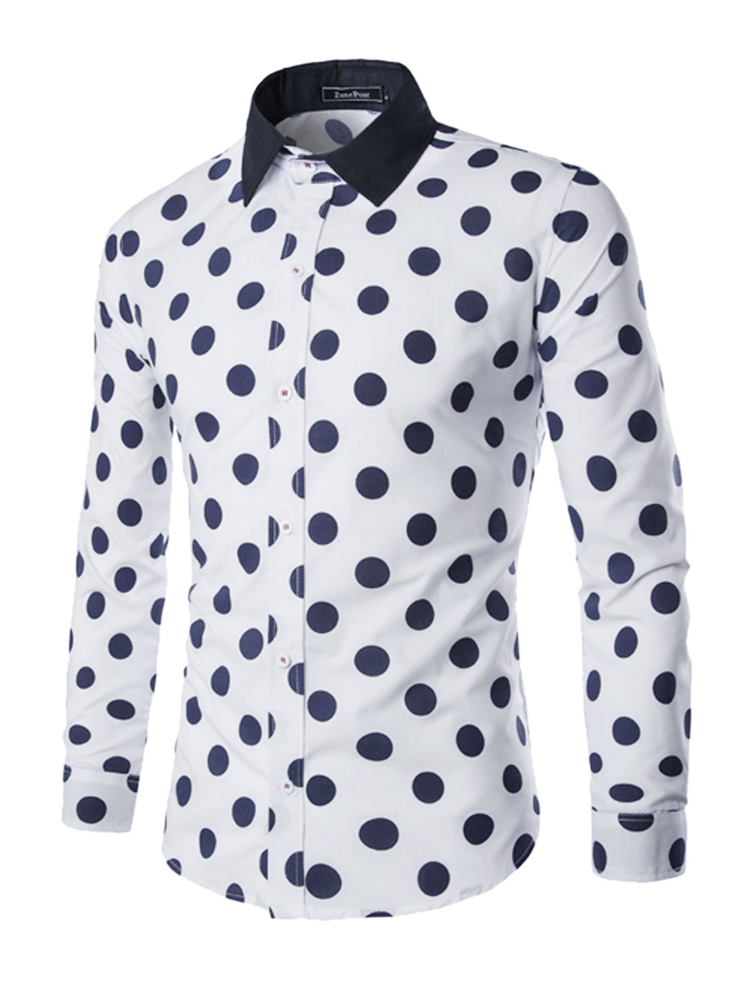 Men Collared Single Breasted Dots Slim Fit Shirt White M