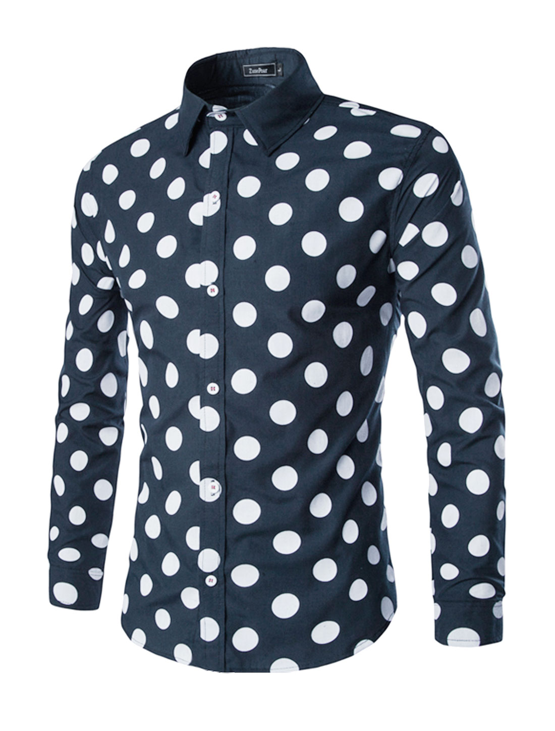 Men Collared Single Breasted Dots Slim Fit Shirt Navy Blue M